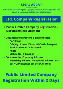 Document Required for Public Limited Company Registration